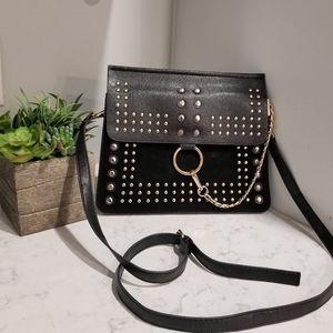 Handbags - BLACK CROSSBODY WITH GOLD STUDS.